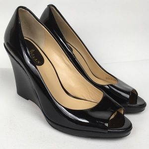 COLE HAAN Sz 6M Black Leather Open Toe Wedges